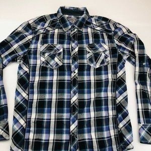 BKE Mens Button Front Shirt Blue Black Plaid Long